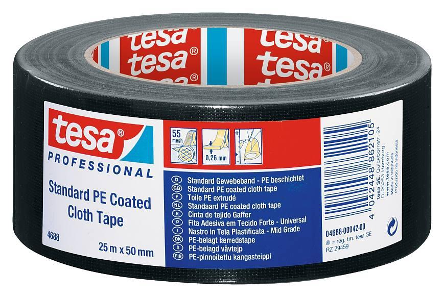 tesa® Standart PE Kaplı Bez Bant (Siyah) 50 * 50